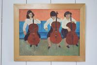 Mid Century Oil Painting on Board Three Cellists by Horas Kennedy (2 of 9)