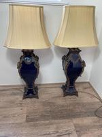 Pair of French Large Rams Heavy Bronze Blue Ceramic Table Lamps (26 of 46)