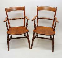Pair of Victorian Rope Back Oxford Chairs in Elm & Beech (2 of 15)