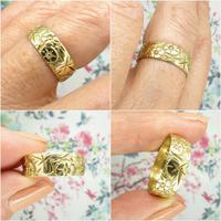 Vintage 9ct Solid Gold Engraved Wedding Band Dated London 1969~ Etched Ring (9 of 11)