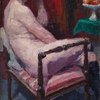 Oswald Poreau, Seated Nude In Leather Boots, Oil Painting (8 of 8)