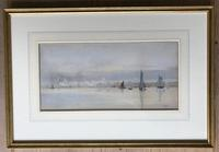 Watercolour by William Lionel Wyllie RA  1893  'on the Medway' (2 of 3)