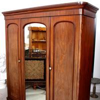 Wardrobe Triple Compactum Wardrobe Victorian Mahogany (4 of 12)
