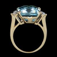 Vintage Aquamarine Diamond Ring 14ct Gold 12ct Emerald Cut Aqua (7 of 8)