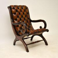 Regency Style Leather Armchair & Stool (2 of 14)