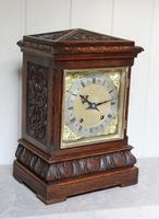 Solid Carved Oak Bracket Clock (3 of 11)