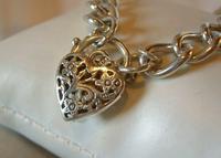 "Vintage Sterling Silver Bracelet 1976 Puffy Heart Padlock 6 1/2"" Length 21.8 Grams (4 of 12)"