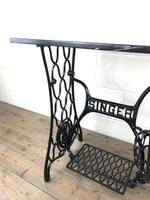 Antique Singer Sewing Machine Table with Marble Top (6 of 8)