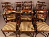 Rare Set of 10 Regency Period Mahogany Dining Chairs (4 of 17)