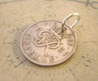 Vintage Pocket Watch Chain Fob 1951 Lucky Silver Sixpence Old 6d Coin Fob (3 of 8)