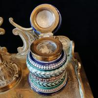 Antique Brass and Porcelain Double Inkwell with Candlestick (4 of 10)