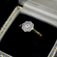Vintage Diamond Cluster Flower Daisy 18ct 18K Yellow Gold Ring (9 of 10)