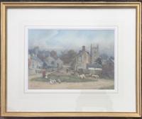 Sam Towers Watercolour - Village Street Scene, Hartington, Dovedale (2 of 2)