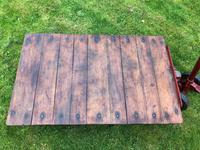 English Vintage Railway Willmot Trolley Oak Iron Plank Top Coffee Wheel Table (23 of 25)