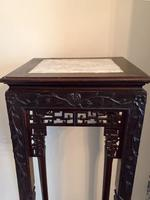 Tall Chinese Hardwood Jardinière Plant Stand with Marble Top (6 of 11)