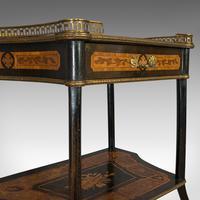 Antique Etagere, Italian, Mahogany, Boxwood, 3 Tier Whatnot, Victorian c.1900 (3 of 12)