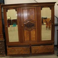 1920's Large Walnut Mirrored Compactum Wardrobe (5 of 5)