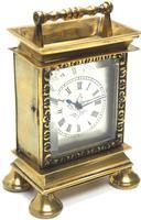 Rare Little Verge Carriage Clock Timepiece, Ormolu cased Silver Dial Mantel Clock (6 of 9)