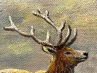 """Oil Painting Scottish Stags """"Denizens of the Highlands"""" Signed Wendy Reeves (44 of 45)"""