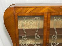 Art Deco Walnut Curved Bookcase Display Storage Cabinet (5 of 29)
