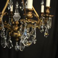Italian Gilded Bronze & Crystal 8 Light Chandelier (4 of 10)