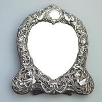 William Comyns : A Fine Large Quality Antique Solid Silver Novelty Mirror C.1905 (2 of 11)