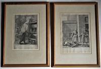 Wenceslaus (wenzel) Hollar, Pair of Original Prints, Etchings, 1668, Aesop's Fables