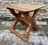 Antique Swedish Pine X-frame Trestle Table (9 of 21)