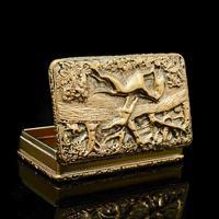 Georgian Solid Silver Gilt Snuff Box With Spectacular Fox Hunting Scene - Edward Smith 1832 (6 of 22)