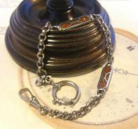 Pocket Watch Chain 1930s German Art Deco Silver Chrome & Goldstone Albert Nos (4 of 12)
