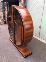 Art Deco Walnut & Ebonised Round Display Cabinet (3 of 11)