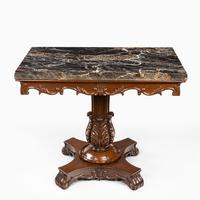 Anglo-Indian Mahogany Table with Nero Portoro Marble top by White & Co Calcutta (2 of 7)
