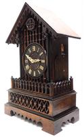 Rare Gallery Cuckoo Mantel Clock – German Black Forest Carved Bracket Clock (7 of 13)