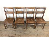 Set of Four Victorian Elm Chapel Chairs (2 of 7)