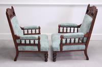 Pair of Victorian Carved Oak 'His & Hers' Easy Chairs (3 of 6)