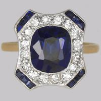 Art Deco Sapphire & Diamond Ring.French 1920s 18ct Gold Antique Cluster Ring