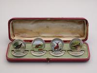 Cased Set of 4 Edwardian Silver & Enamel English Game Menu Holders by Sampson Mordan, Chester, 1904 (2 of 15)