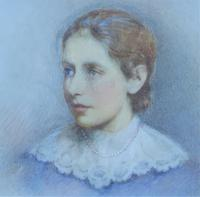 Lovely Edwardian Antique Miniature Watercolour Portrait Painting of Lady (6 of 8)