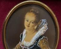 Lovely Original Vintage Miniature Portrait Oil Painting in 18th Century Manner (5 of 8)