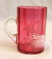 Antique 1900 Mary Gregory Cranberry Glass Mug (4 of 6)