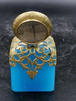 Old Palais Royal Blue Opaline Glass Perfume Bottle with a Miniature of Paris (5 of 6)