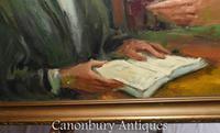 Oil Painting Jew and Rabbi Portrait Antique Yiddish Judaic Art 1930 (5 of 9)