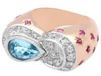 1.36 ct Aquamarine, 0.78 ct Diamond and 0.50 ct Ruby, 18ct Rose Gold Dress Ring - Vintage Circa 1950 (3 of 9)
