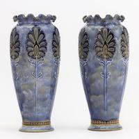 Pair of Royal Doulton Stoneware Art Nouveau Vases by Eliza Simmance c1903