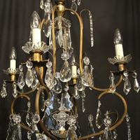 French Gilded Crystal Birdcage 5 Light Antique Chandelier (4 of 10)