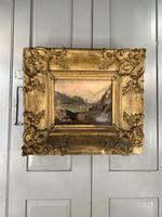 Antique Victorian Landscape Oil Painting in Ornate Gesso Frame (2 of 10)