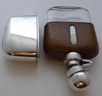 Edwardian Silver Plate Plated Leather Bound Glass Hip Flask (5 of 11)