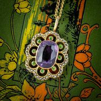 Antique Edwardian Suffragette Pendant Necklace Amethyst Peridot Pearl 9ct Gold c.1910 (8 of 8)