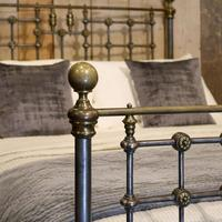 Late Victorian Cast Iron, Steel & Brass Antique Bed (3 of 9)