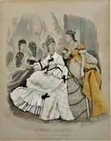 Antique Victorian 3-D Fashion Picture in Original Frame c1875 (2 of 12)